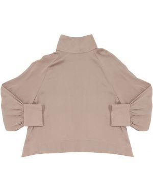 Różowa satynowa koszula z raglanowymi rękawami Unlabel