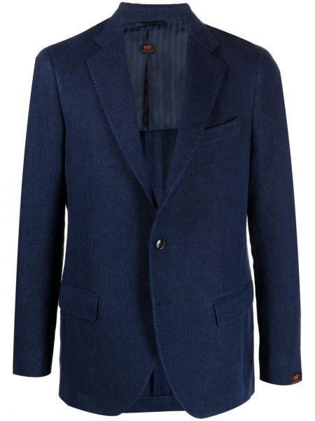 Niebieskie jeansy zapinane na guziki bawełniane Mp Massimo Piombo