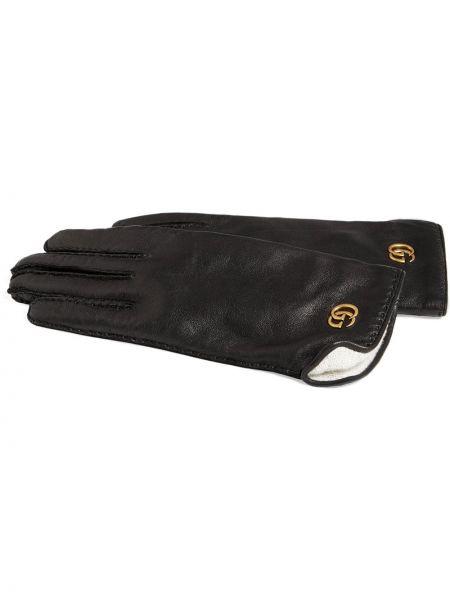 Czarne rękawiczki skorzane do biegania Gucci