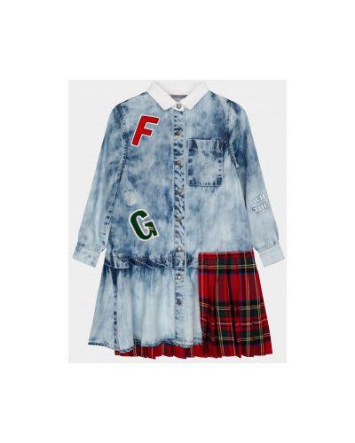 Платье мини со складками с воротником с длинными рукавами с нашивками Gulliver Wear