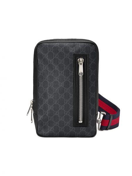 Черная кожаная поясная сумка с поясом Gucci