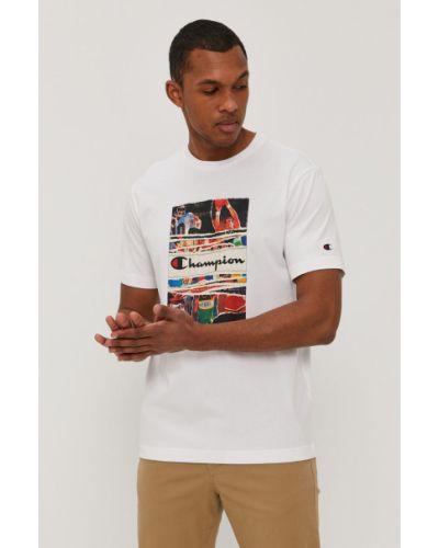 Biały t-shirt bawełniany z printem Champion