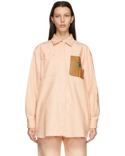 С рукавами розовая длинная куртка с воротником Loewe