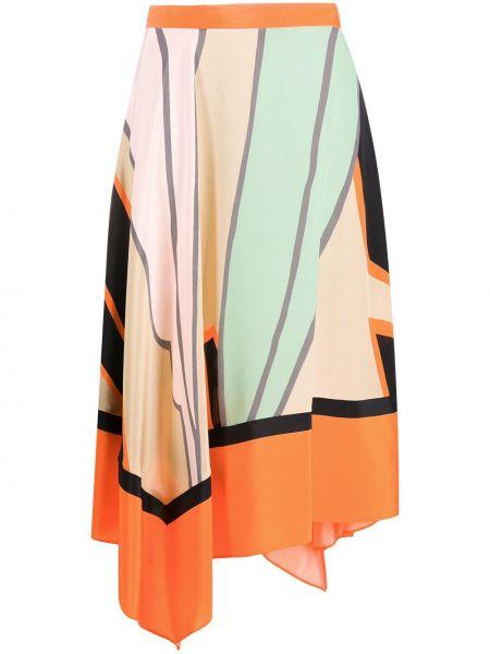 Оранжевая шелковая асимметричная с завышенной талией юбка Dvf Diane Von Furstenberg
