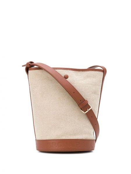 Skórzana torebka z logo beżowa A.p.c.