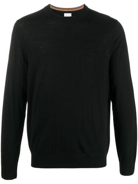 Z merynosa czarny pulower z haftem z długimi rękawami Paul Smith