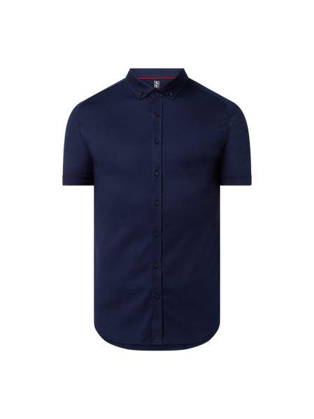 Niebieska koszula slim krótki rękaw bawełniana Desoto