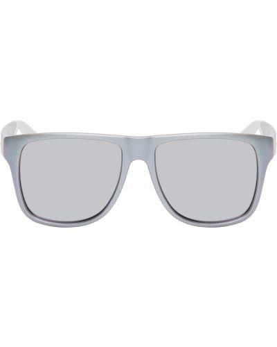 Białe okulary skorzane Alexander Mcqueen