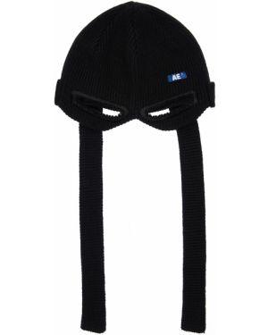 Czarny czapka beanie wełniany z haftem Ader Error