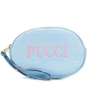 Niebieska złota kosmetyczka z haftem Emilio Pucci