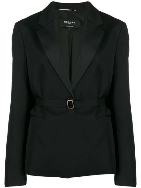 Шерстяной черный пиджак с карманами Rochas
