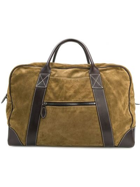Кожаная зеленая дорожная сумка Holland & Holland