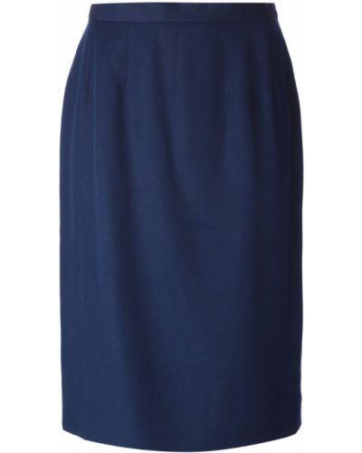 Синяя юбка карандаш винтажная с рукавом 3/4 Guy Laroche Pre-owned