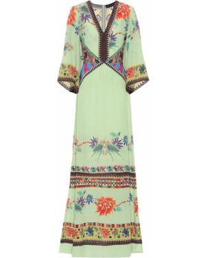 Вечернее платье шелковое зеленый Etro