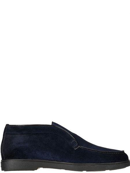 Кожаные ботинки - синие Santoni