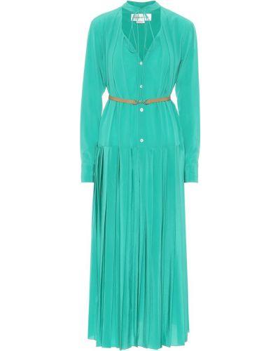 Свободное шелковое плиссированное платье миди мятное Victoria Beckham