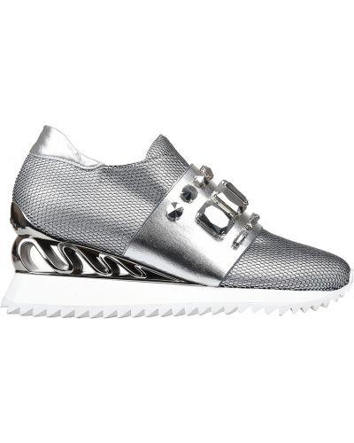 Кроссовки на платформе серебряный Le Silla