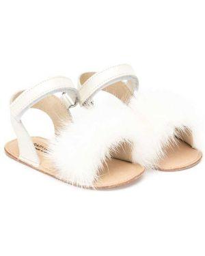 Открытые белые босоножки на плоской подошве с открытым носком Babywalker