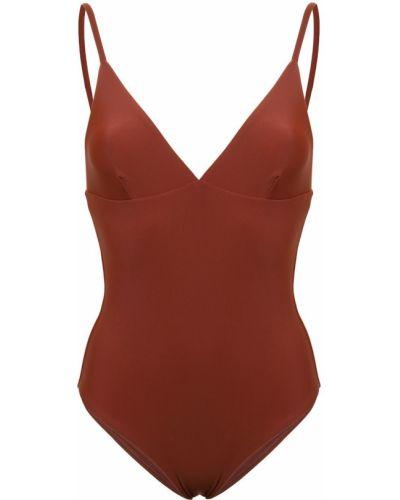 Нейлоновый коричневый пляжный купальник с шортами с вырезом Matteau