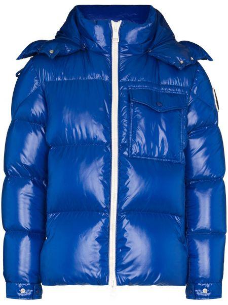 Puchaty niebieski kurtka z kapturem Moncler