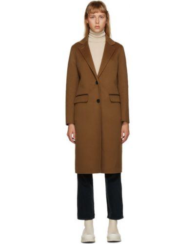 Шерстяное черное длинное пальто с воротником Mackage