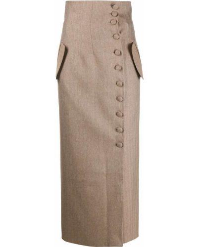 Коричневая с завышенной талией юбка карандаш с разрезом на пуговицах Matériel