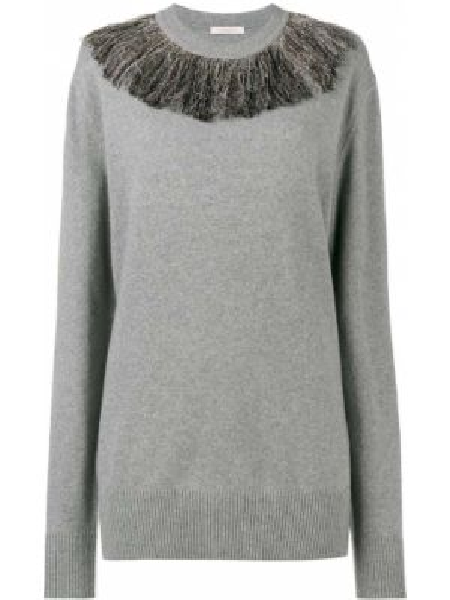 Z kaszmiru sweter z frędzlami z długimi rękawami Christopher Kane