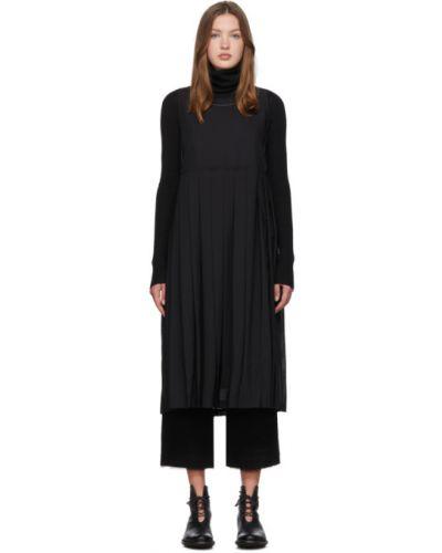 Шерстяное черное платье с воротником без рукавов Renli Su