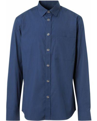 Niebieski klasyczna koszula z kołnierzem z kieszeniami z łatami Burberry
