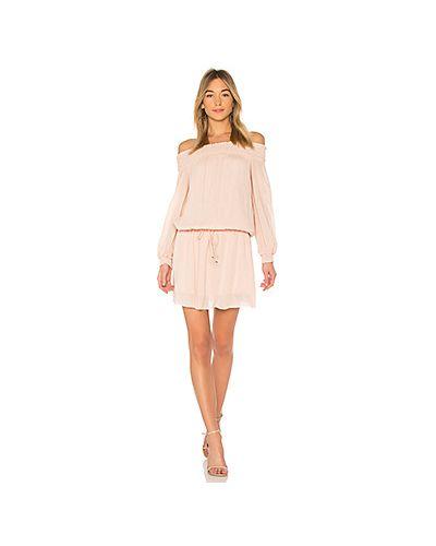Платье с поясом персиковое со складками Line & Dot
