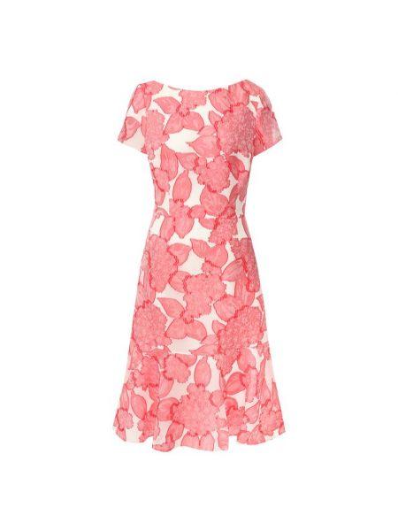 Шелковое розовое платье миди с оборками свободного кроя Escada