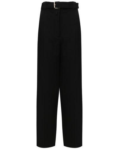 Черные брюки с поясом с высокой посадкой из плотной ткани The Row