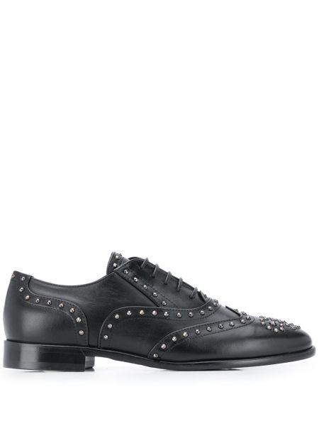 Koronkowa czarny buty brogsy z prawdziwej skóry zasznurować Casadei