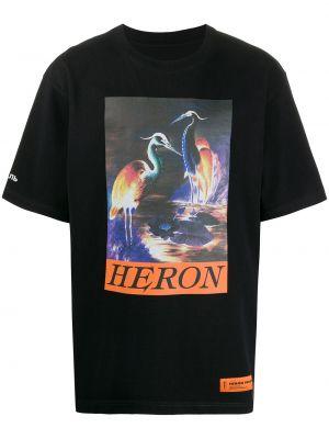 Bawełna czarny z rękawami prosto koszula krótkie z krótkim rękawem Heron Preston