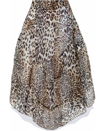 Коричневая шелковая асимметричная юбка миди Ermanno Scervino