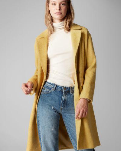 Желтое пальто классическое из альпаки на пуговицах с лацканами Marc O' Polo