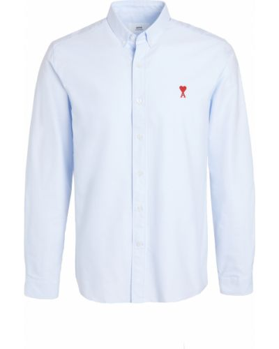 Niebieska koszula oxford bawełniana z haftem Ami