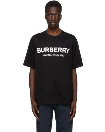 Bawełna czarny koszula krótkie rękawy z kołnierzem Burberry