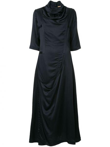 Приталенное платье мини на пуговицах с драпировкой с вырезом Nehera