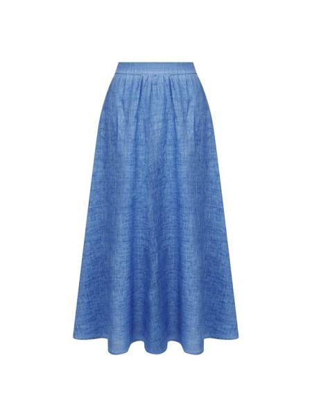 Юбка миди льняная синяя 120% Lino