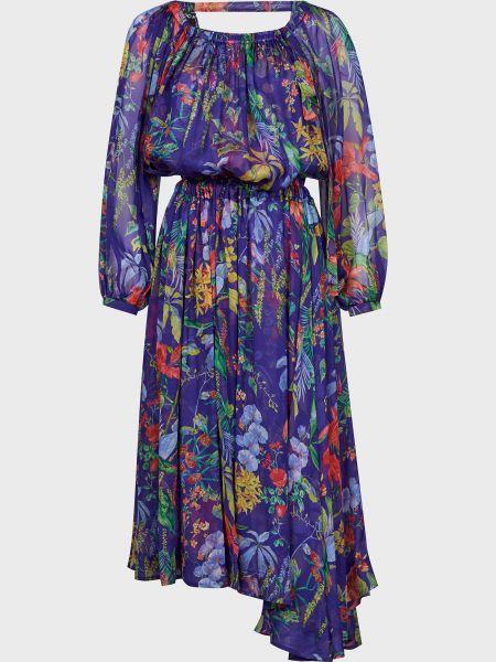 Фиолетовое шелковое платье Rochas