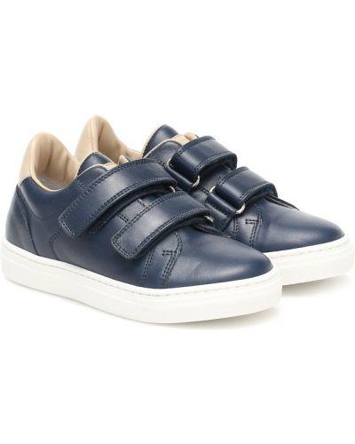 Niebieski skórzany sneakersy Brunello Cucinelli Kids