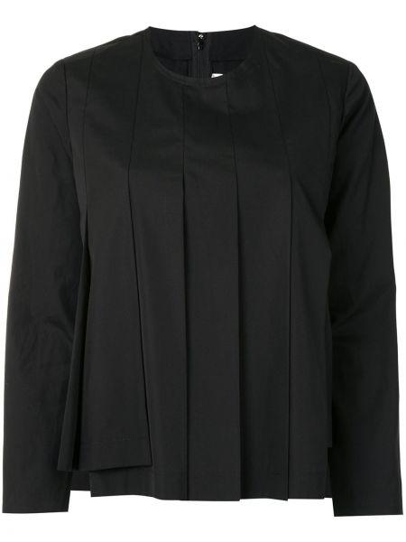 Плиссированная черная блузка с длинным рукавом с вырезом на молнии Comme Des Garçons