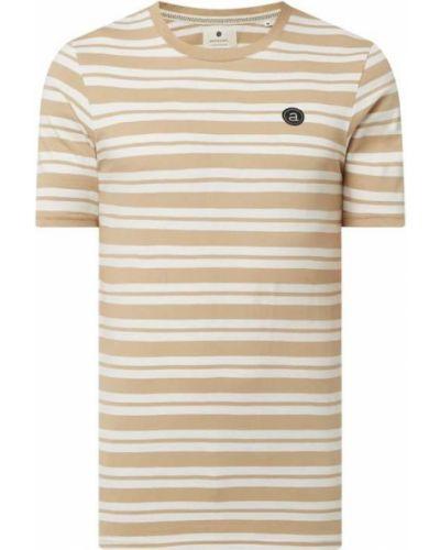 Beżowy t-shirt bawełniany w paski Anerkjendt