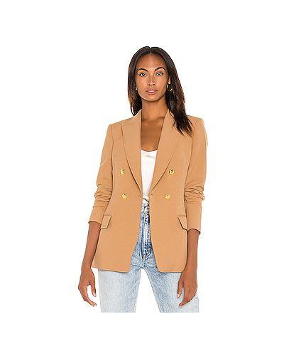 Куртка с манжетами из габардина золотая с карманами Alc