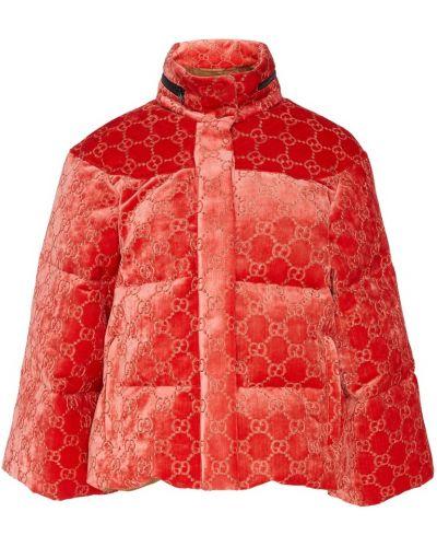Красная стеганая куртка на молнии с карманами с воротником Gucci