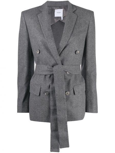 Шерстяной однобортный классический пиджак на пуговицах с поясом Agnona