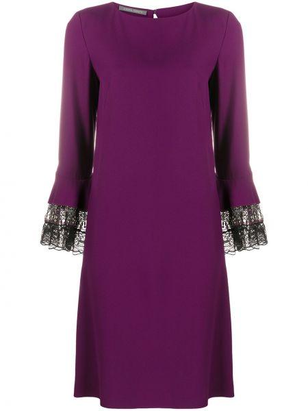 Фиолетовое платье с длинными рукавами с вырезом трапеция Alberta Ferretti