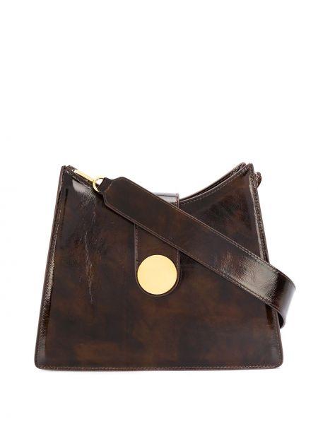 Brązowy skórzana torebka z prawdziwej skóry za pełne z kieszeniami Elleme