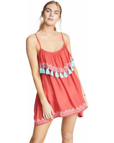 Розовое текстильное платье мини Tiare Hawaii